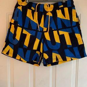 Nautica Swim Trunks Blue Yellow Logo Letters Sz L